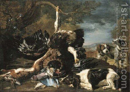 A spaniel, an eagle, a hare and a wicker basket with a jay, finches and other birds overlooked by two hounds, a mountainous landscape beyond by David de Coninck - Reproduction Oil Painting