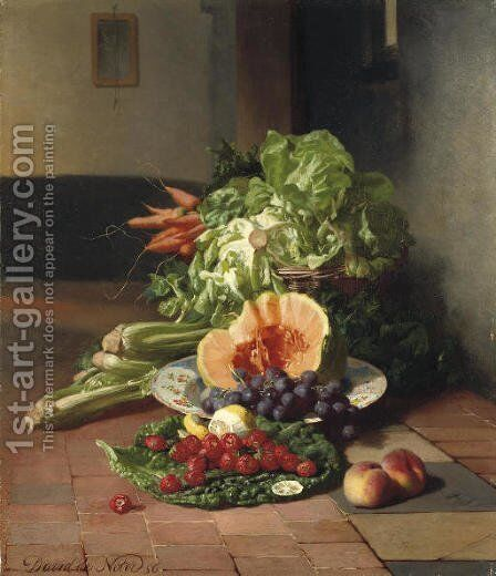 A kitchen still life by David Emil Joseph de Noter - Reproduction Oil Painting