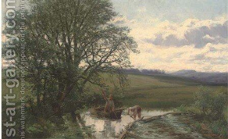 Meadow scene at Carrie Bridge, near Blairgowrie by David Farquharson - Reproduction Oil Painting
