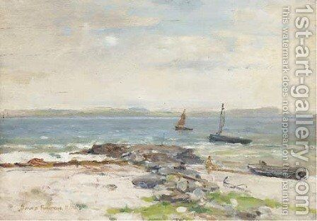 Vessels Off The Shore In A Stiff Breeze by David Fulton - Reproduction Oil Painting