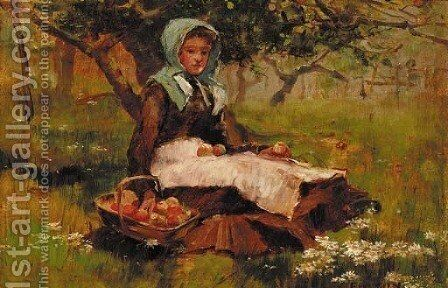 A girl in an orchard with a basket of apples by David Fulton - Reproduction Oil Painting