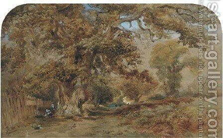 Figures by a path in a wooded landscape, with deer beyond by David Hall McKewan - Reproduction Oil Painting