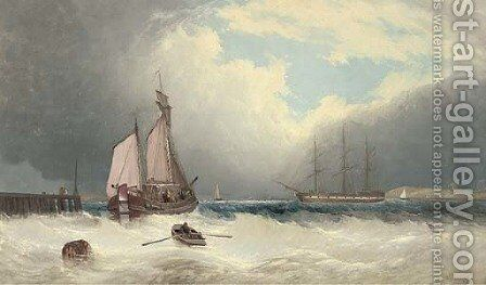 A barge running out of harbour, a frigate riding on her anchor beyond by David James - Reproduction Oil Painting