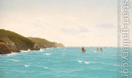 The fishing fleet running up the Cornish coast by David James - Reproduction Oil Painting