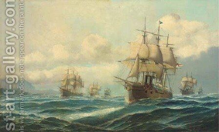 Vice-Admiral Phipps Hornby's squadron steaming through the Dardanelles on passage to Constantinople, 13th-14th February 1878 by David James - Reproduction Oil Painting