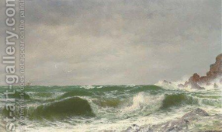 Waves crashing on a rocky coast by David James - Reproduction Oil Painting