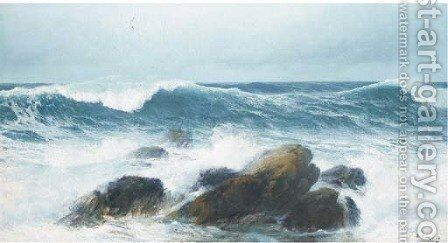Waves crashing on a rocky shore by David James - Reproduction Oil Painting