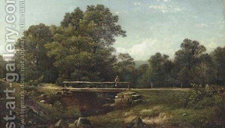 Old Kate's Bridge, Rifton Glen, Ulster County, New York by David Johnson - Reproduction Oil Painting