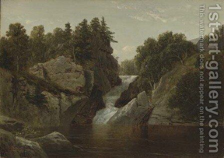 Waterfall at Norwich, Connecticut by David Johnson - Reproduction Oil Painting