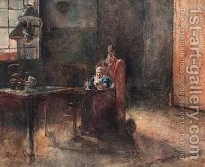 An interior with a child in a baby-chair by David Oyens - Reproduction Oil Painting