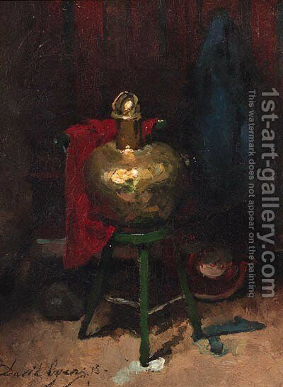 The artist's studio with the set up for a still life by David Oyens - Reproduction Oil Painting