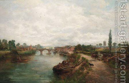 Figures on a tow path with a town beyond by David Payne - Reproduction Oil Painting