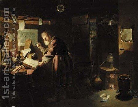 An alchemist in his study at night by (attr. to) Ryckaert, David III - Reproduction Oil Painting
