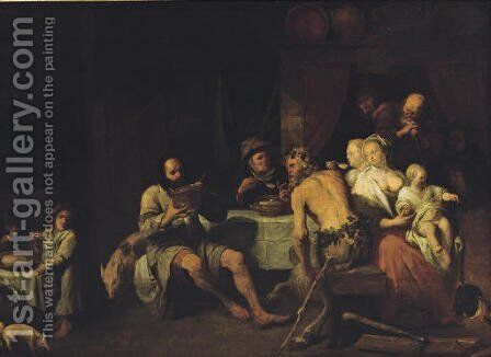 The Fable of the Satyr and the peasant family by (attr. to) Ryckaert, David III - Reproduction Oil Painting