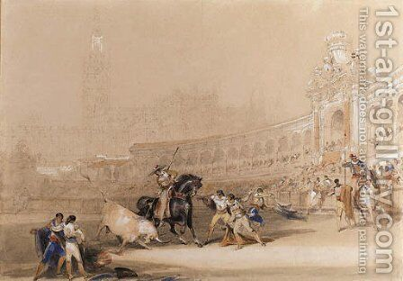 A bull fight, Seville by David Roberts - Reproduction Oil Painting