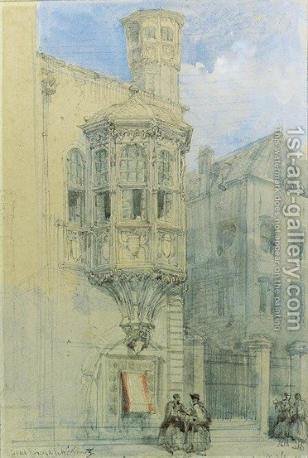 An oriel window, Coblenz, Germany by David Roberts - Reproduction Oil Painting