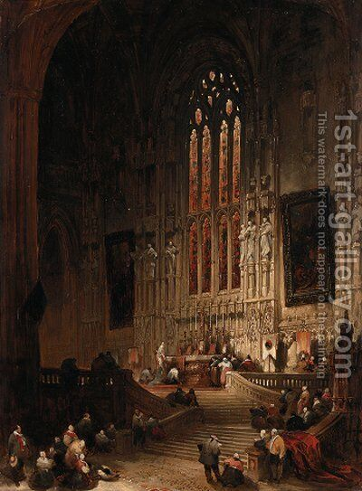 Chancel of the Church of St. Rombauld, Tirlemont, Flanders by David Roberts - Reproduction Oil Painting
