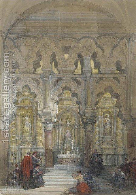 Figures worshipping in the Mosque of Cordova by David Roberts - Reproduction Oil Painting
