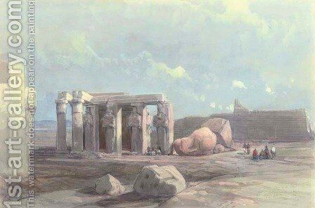 Fragments of a Colossal statue at the Memnonium, Thebes by David Roberts - Reproduction Oil Painting