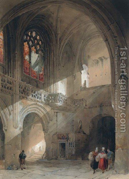 Interior of the church of St. Saveur, Caen by David Roberts - Reproduction Oil Painting