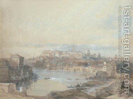 The Capitol viewed across the Tiber, Rome by David Roberts - Reproduction Oil Painting