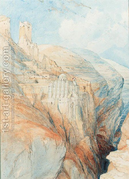 The convent of St. Saba, near Ungedi by David Roberts - Reproduction Oil Painting