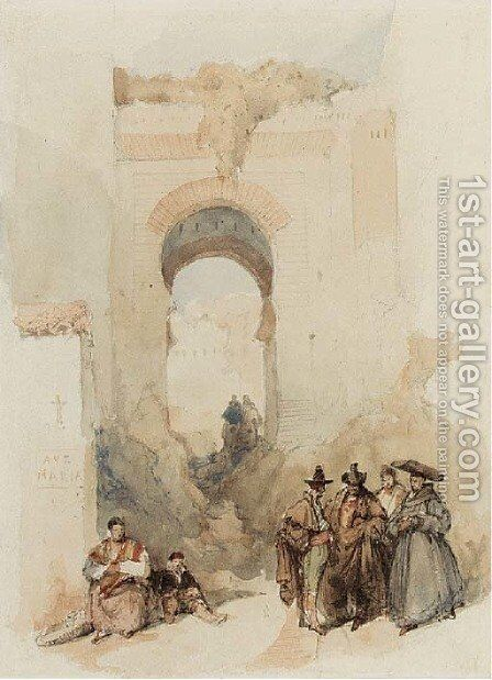 The Entrance of the Albaycin, Granada by David Roberts - Reproduction Oil Painting