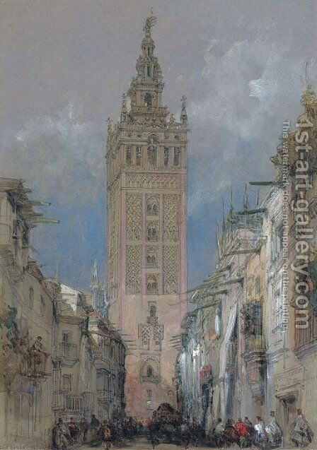 The Moorish tower at Seville, called the Giralda, Spain by David Roberts - Reproduction Oil Painting