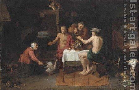 Jupiter and Mercury in the house of Philemon and Baucis by David The Elder Ryckaert - Reproduction Oil Painting