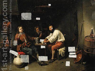 A gentleman drinking in an inn by David The Younger Ryckaert - Reproduction Oil Painting