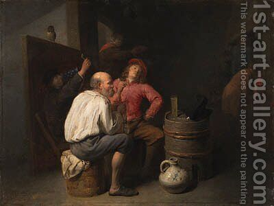 Peasants smoking and drinking in an inn by David The Younger Ryckaert - Reproduction Oil Painting