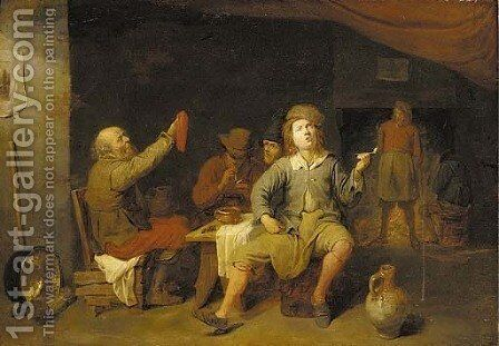 Peasants smoking in a tavern by David The Younger Ryckaert - Reproduction Oil Painting