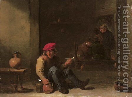 A boor holding a pipe and jug seated in an interior with other peasants conversing in the background by David III Teniers - Reproduction Oil Painting
