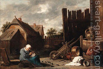 A cat tended by an old woman being teased by rats in a farmyard by David III Teniers - Reproduction Oil Painting