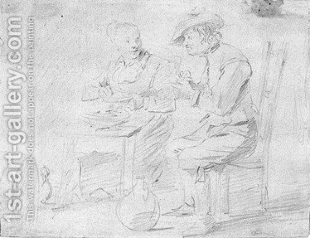 A couple eating in an interior, a wine barrel at the left by David III Teniers - Reproduction Oil Painting