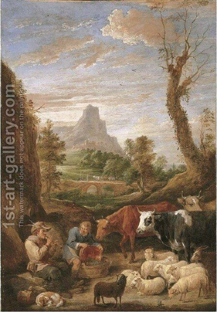 A pastoral landscape with a shepherd playing a pipe with cattle and sheep by David III Teniers - Reproduction Oil Painting