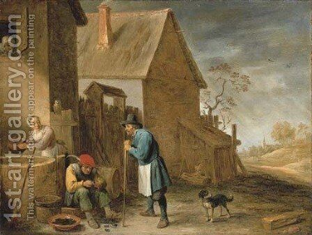 A peasant eating mussels at a farm, with a woman at a well and a man with his dog, a landscape with a church beyond by David III Teniers - Reproduction Oil Painting