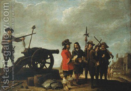 A prisoner brought before an officer, a fortress beyond by David III Teniers - Reproduction Oil Painting