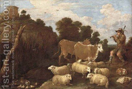 A river landscape with a herdsman playing a pipe with classical ruins on a hilltop beyond by David III Teniers - Reproduction Oil Painting