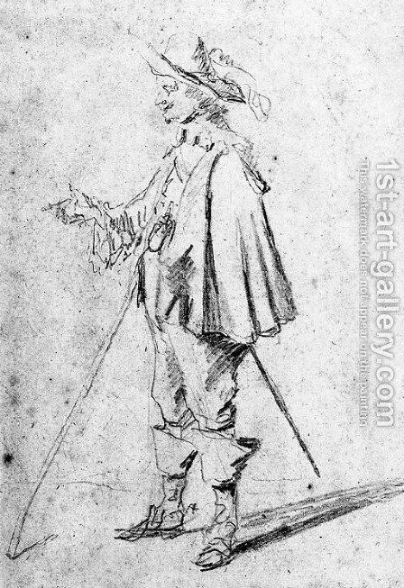 A standing cavalier in profile to the right by David III Teniers - Reproduction Oil Painting
