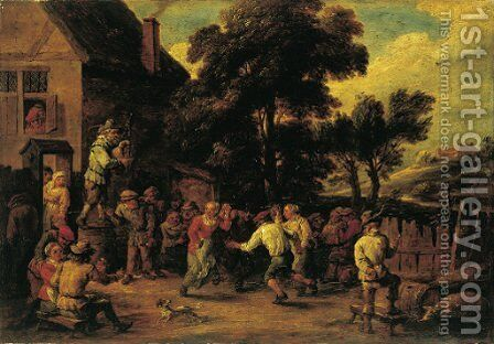 A village kermesse with three peasants dancing to a piper's tune by David III Teniers - Reproduction Oil Painting