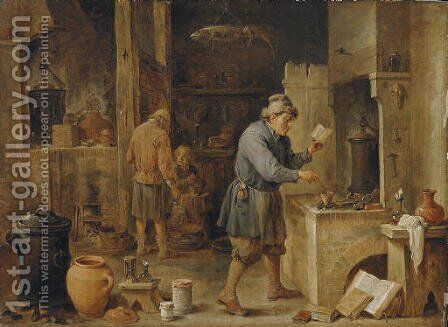 An alchemist in his workshop by David III Teniers - Reproduction Oil Painting