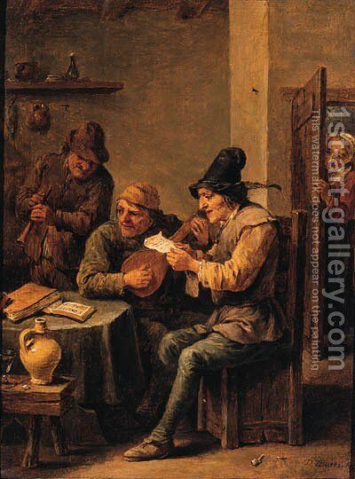 Boors making music in a tavern by David III Teniers - Reproduction Oil Painting