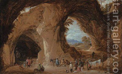 Gypsies at a grotto with a traveller having his fortune told by David III Teniers - Reproduction Oil Painting