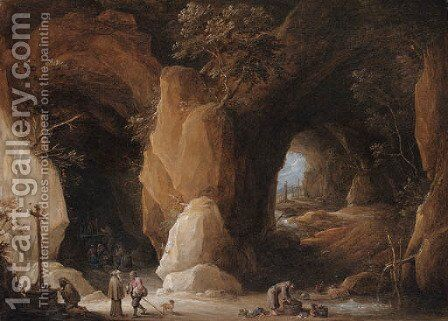 Hermits at a grotto with travellers by David III Teniers - Reproduction Oil Painting