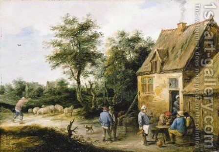Peasants drinking before a roadside inn in a wooded landscape, with a shepherd and his flock nearby by David III Teniers - Reproduction Oil Painting