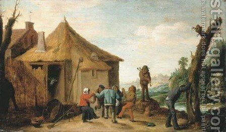 Peasants merrymaking by a cottage, a river beyond by David III Teniers - Reproduction Oil Painting