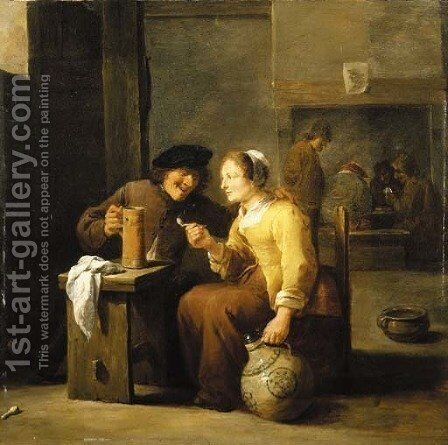 Peasants smoking and drinking in a tavern by David III Teniers - Reproduction Oil Painting