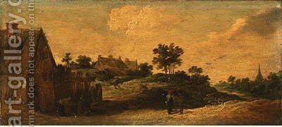 Peasants talking on a path, a washerwoman before a house, a church beyond by David III Teniers - Reproduction Oil Painting
