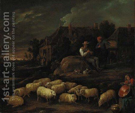Shepherds with their flock by a village by David III Teniers - Reproduction Oil Painting